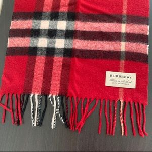 Burberry Classic Check Cashmere Scarf - Red